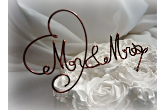 mr mrs wire cake topper bronze