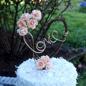 peach flower vine cake topper