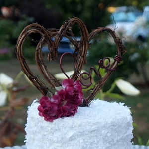 grapevine and flower cake topper