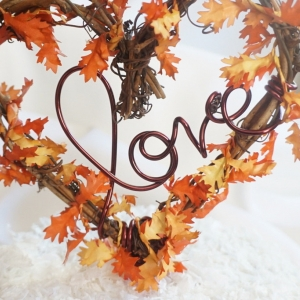 fall love cake topper with leaves