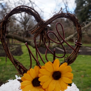 sunflower grapevine cake topper