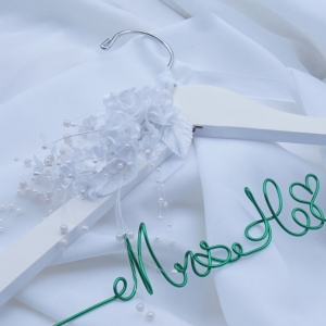 white flower bride hanger