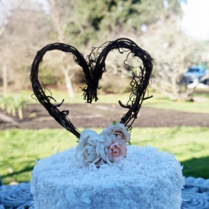 Charming Rustic Grape Vine Cake Topper With Peach & Pink Flowers