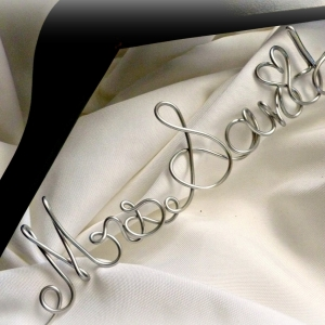 Personalized SOLID WOOD Hanger With Metal Name, Non Tarnish Script