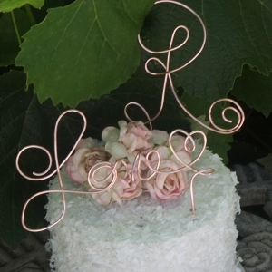 love cake topper with initial