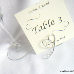 Table Name & Number Holder, Silver Wedding Decor, 1pc