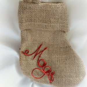 Personalized Mini Christmas Stocking, Rustic Holiday Decor