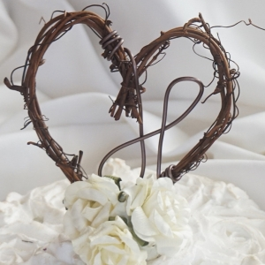 rustic vine cake topper with roses