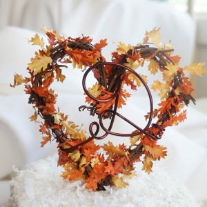 fall leaves cake topper with letter