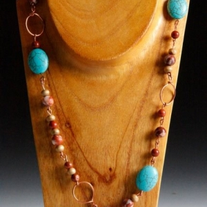 Handcrafted Copper & Turquoise Necklace, Boho Chic Resort Wear