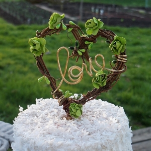 Grapevine Love Cake Topper With Flowers & Greenery, Spring Wedding Decor