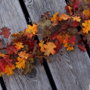 Autumn Wedding & Home Decor Fall Leaves Garland Backdrop For Wall, Arch, Staircase, Ceremony, Reception, 6Ft