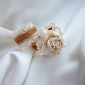 Burlap Napkin Rings With Optional Rose