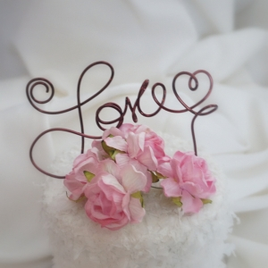 Small Love Cake Topper in Your Choice of Color, Brown, Rose Gold, Silver & Much More