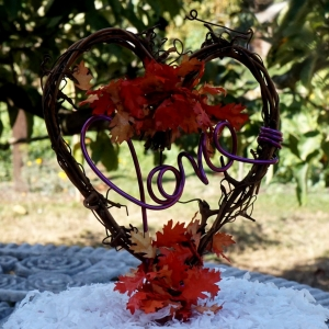 Fall Cake Topper With Autumn Leaves Option