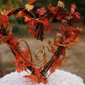 Fall Cake Topper With Leaves, Ready to Ship!