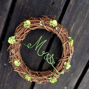 Greenery Color Decor Couples Chair Signs, 10 Inch, 2pcs Mr Mrs or Customize