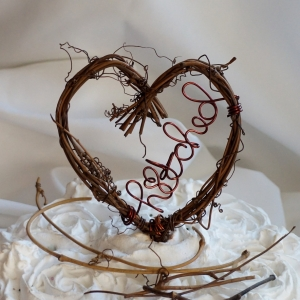 hitched rustic vine cake topper