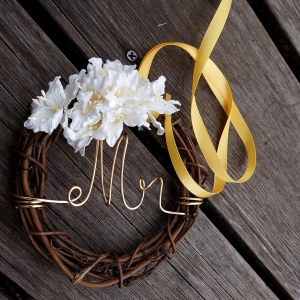 Mr Mrs Chair Signs With Lilies For Reception Chair Decor, Barn & Farmhouse Wedding Chair Backs, Country Chic, 2pcs