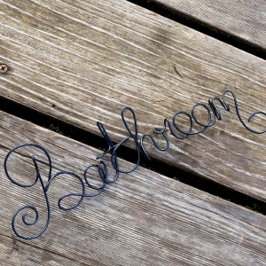 Bathroom Wire Wall Sign, Restroom Decor, Boutique Retail Business Signs