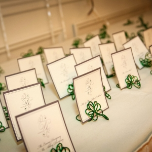 St Patricks Day Wedding Decor Shamrock Place Settings, Four Leaf Heart Clover Place Holder