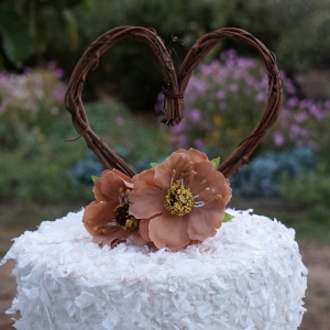 Vine Cake Topper With Flowers For Rustic Reception