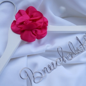 Wedding Gown Hanger With Flower, Personalized Engagement Gift, Ivory, White & More