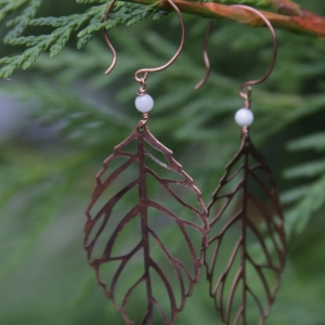Copper Leaf Earrings With White Accent, Unique Gift For Her