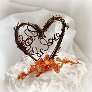 Fall Wedding Cake Topper With Autumn Leaves Option