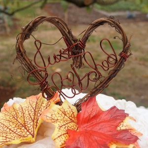 Rustic Wedding Decor Just Hitched Cake Topper, Fall Country Reception