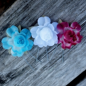 Flower Bobby Pins Great For Bridesmaid Hair Accessories & Bridal Party, 3pcs