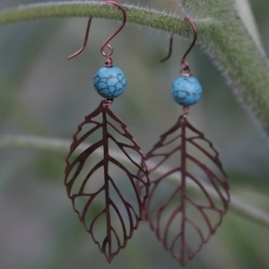 Turquoise & Copper Leaf Earrings