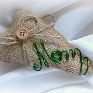 mom burlap ornament