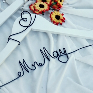 white personalized hanger