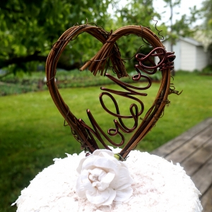 vine mr mrs cake topper