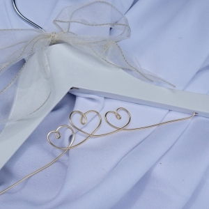 bride hearts hanger in gold and white