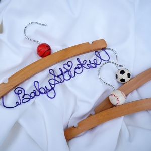 Sports Theme Baby Hanger With Name & Ball Ornament