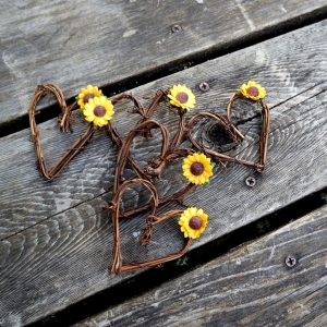 vine hearts with sunflowers