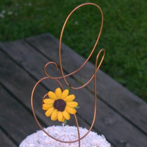 Copper Letter Cake Topper With Sunflower Accent