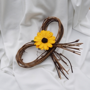Sunflower pew bows for the rustic ceremony