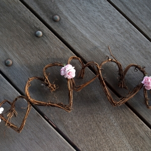 Natural grapevine garland with flowers